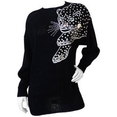 1980s Sequin Jaguar Black Knit Sweater