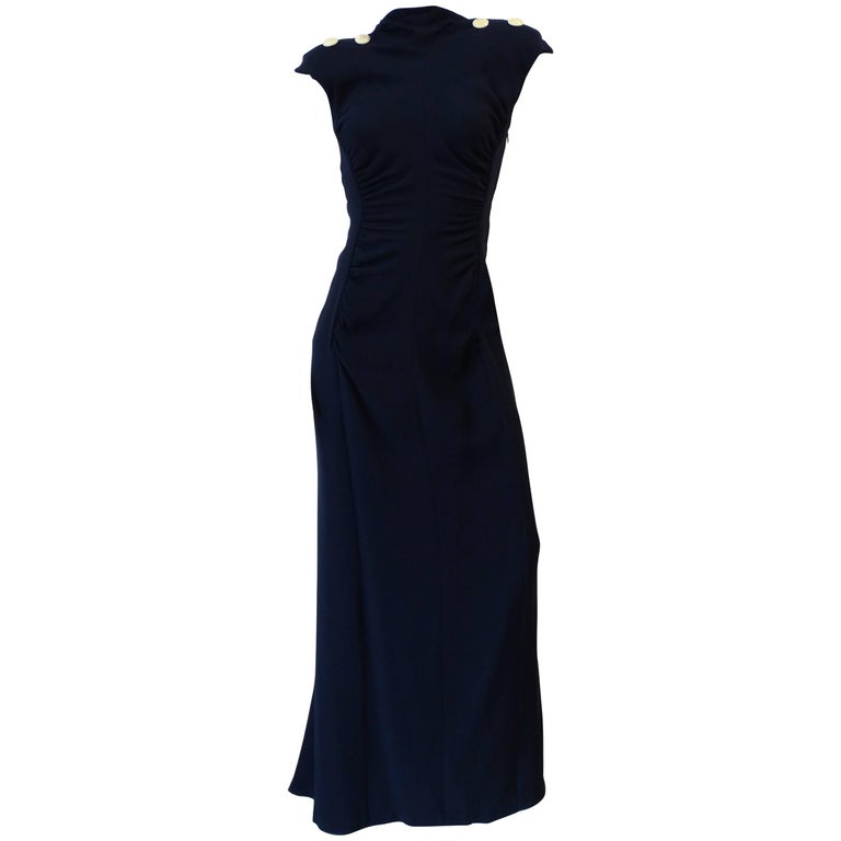 1980s Valentino Midnight Blue Ruched Gown