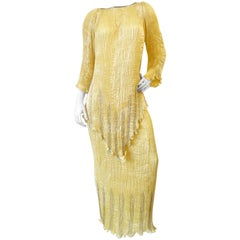 1980s Patricia Lester Yellow Fortuny Micro-Pleated Skirt and Top Set