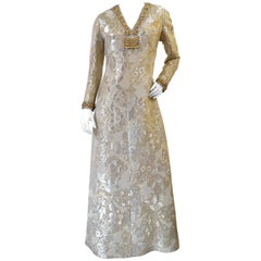1960s Metallic Floral Brocade Beaded Dress