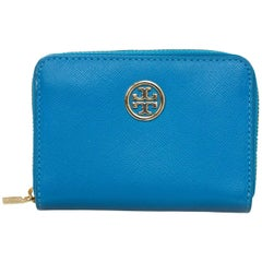 Tory Burch Blue Zip Around Coin Purse Wallet