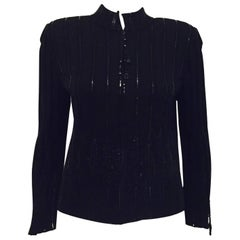 St. John Evening Black Tasseled Cardigan Jacket with Zipper