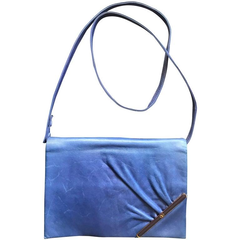 Vintage Valentino Garavani blue leather clutch shoulder bag with logo motif