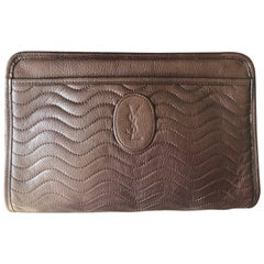 Yves Saint Laurent dark brown Unisex mini document bag clutch purse.