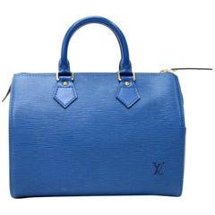 Louis Vuitton Vintage Speedy 25 Blue Epi Leather City Hand Bag