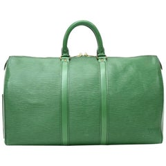 Louis Vuitton Vintage Keepall 45 Green Epi Leather Duffle Travel Bag