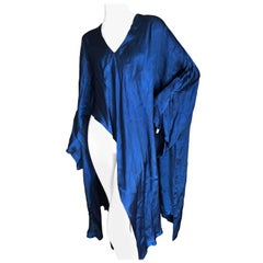 Comme des Garcons Ultimo 1989 Peacock Blue Asymmetrical Poncho Bell Sleeve Dress