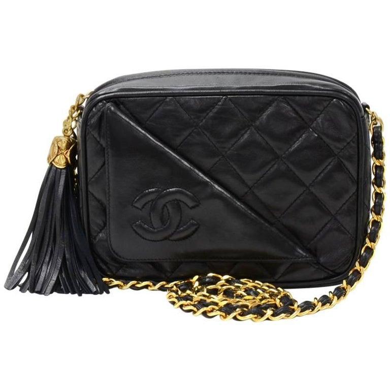 """Chanel Vintage 7"""" Black Quilted Leather Fringe Shoulder Pochette Bag"""