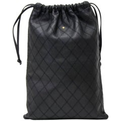 Chanel Vintage Black Quilted Leather String Bag