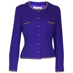 Chanel Lesage Fitted Purple Tweed Chain Trimmed Jacket