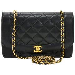 "Chanel Vintage 10"" Diana Classic Black Quilted Leather Shoulder Flap Bag"