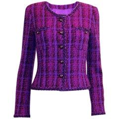Fantastic Chanel Purple Lesage Fantasy Fringe Tweed Jacket