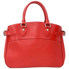 Louis Vuitton Passy Red Epi Leather Silver Tone Hardware Hand Bag