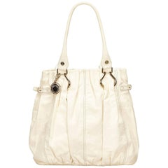 Celine White Leather Tote Bag