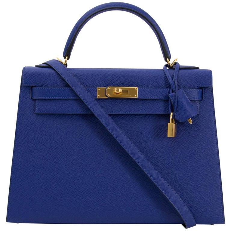 Hermès Kelly 32 Sellier Bleu Electrique Epsom GHW