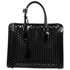 Alexander McQueen Heroine Open Tote Honeycomb Patent Leather Large