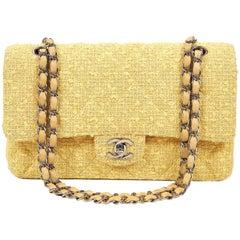 Chanel Yellow Tweed Classic Medium Double Flap Bag