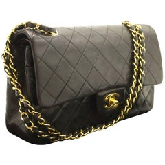 "Chanel 2.55 Double Flap 10"" Chain Black Quilted Lamb Shoulder Bag"
