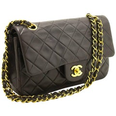 "Chanel 2.55 Double Flap 9"" Chain Black Quilted Lamb Shoulder Bag"
