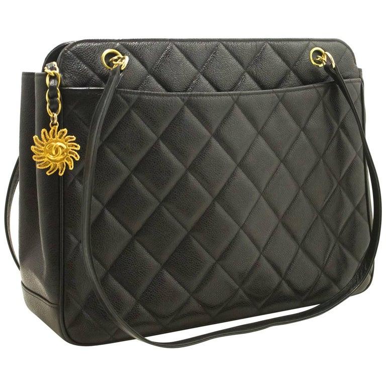 7e14e67ecacfef Chanel Caviar Sun Charm Black Quilted Leather Zipper Shoulder Bag For Sale