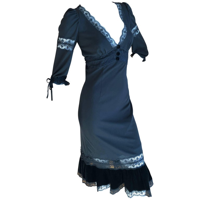 D&G Dolce & Gabbana Sheer Lace Panel Little Black Dress with Velvet Trim For Sale