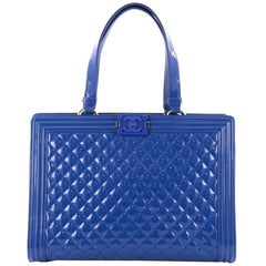 Chanel Boy Shopping Tote Quilted Plexiglass Patent Large