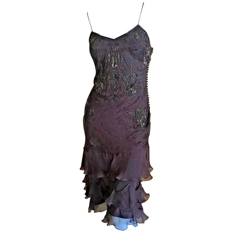 Christian Dior Bead Embellished Silk Chiffon Cocktail Dress by John Galliano  For Sale