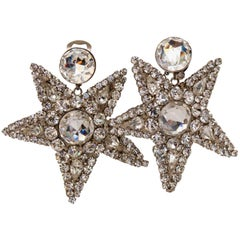 A Pair of 1980s Vintage Yves Saint Laurent Rive Gauche Clip-on Star Earrings