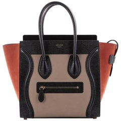 Celine Tricolor Luggage Handbag Leather Micro