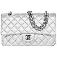 "Chanel Silver Quilted Lambskin 10"" Medium Double Flap Classic Bag"