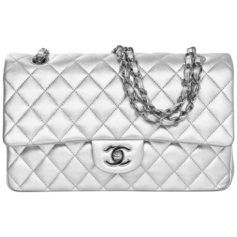 "Chanel Silver Quilted Lambskin 10"" Medium Double Flap Classic Bag For Sale"