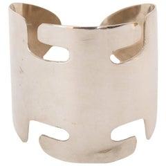 A Rare 1960s Vintage Pierre Cardin Space-age Silver Cuff