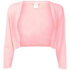 Oscar De La Renta Pink Cashmere Shrug Sz X Small