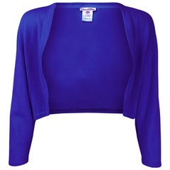 Oscar De La Renta Blue Cashmere Shrug Sz X Small