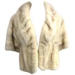 Pearl Mink Fur Vintage Wrap Shrug Shawl Stole 1960s