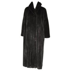 Michael Kors Black Ranch Mink Fur Coat wide Collar