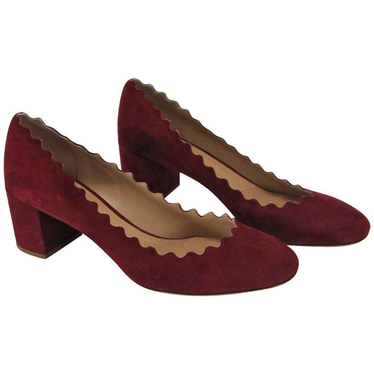 b0bc5dd51e2 Chloe Burgundy Suede Lauren Heels with Scalloped Edges 39 at 1stdibs