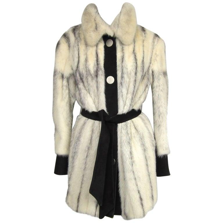 1970s Mod Vintage Black Cross Mink Jacket / Suede Med - Large