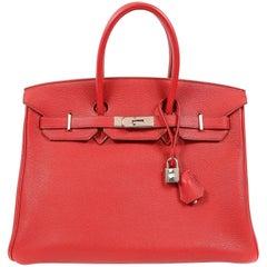 Hermes Rouge VIF Togo 35 cm Birkin Bag with PHW