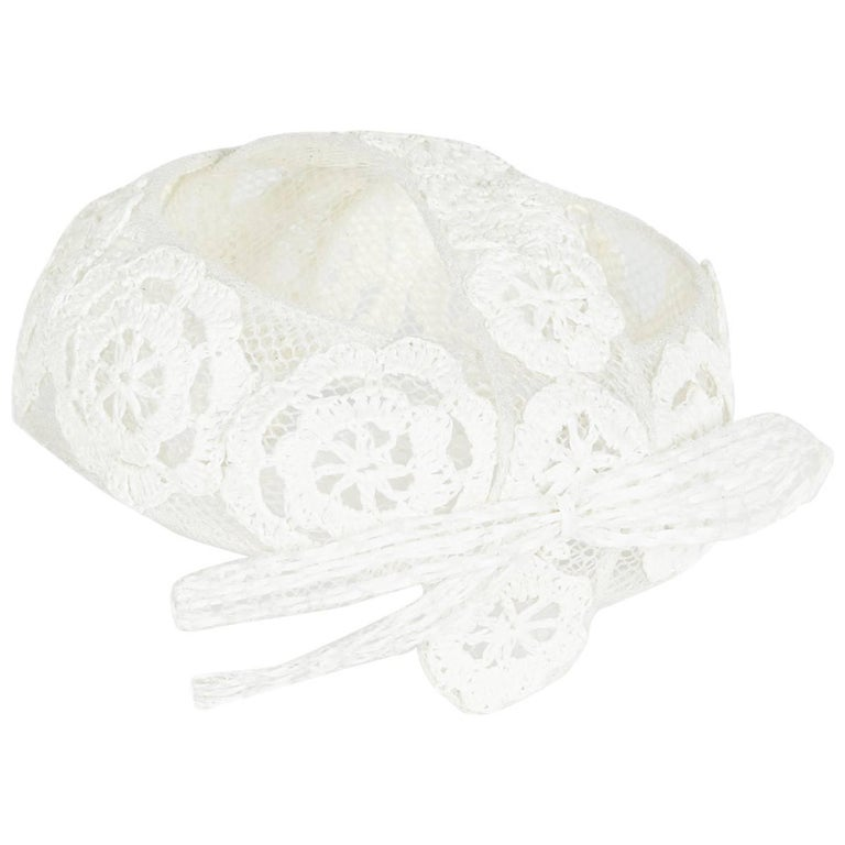 Vintage 1960s Italian White Raffia Bridal Cap With Floral Design