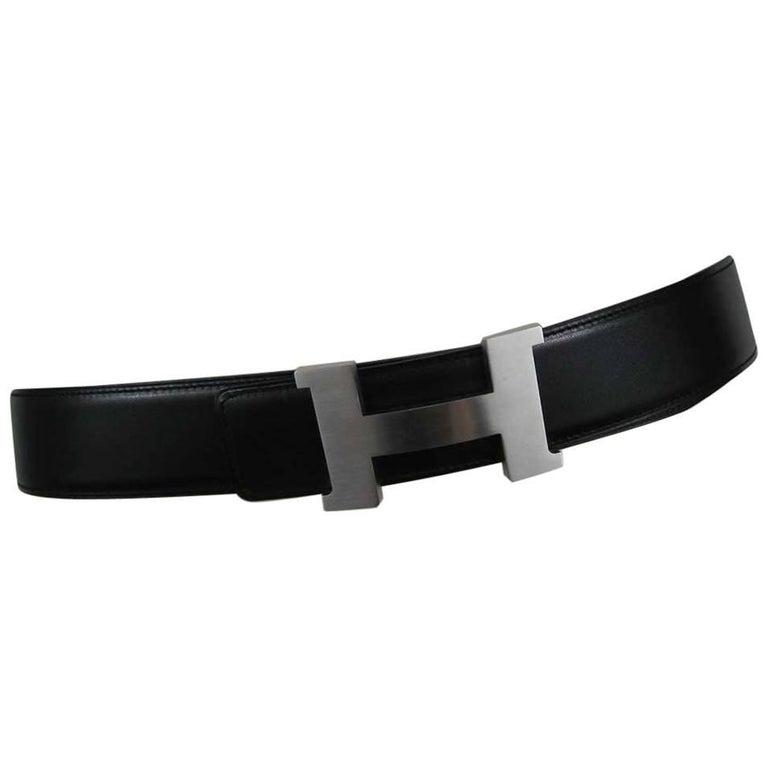 Hermes H Belt Buckle & Wide Reversible Leather Strap For Sale