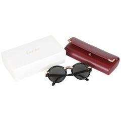 Cartier Vintage Black 1991 Round Cabriolet Sunglasses 49/20 130