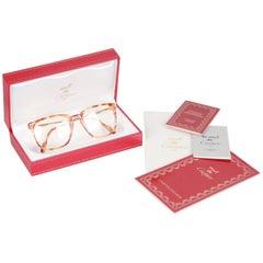 Cartier Vintage Tan Tortoise Eyeglasses Frame Mod. Lumen 54/18 NOS