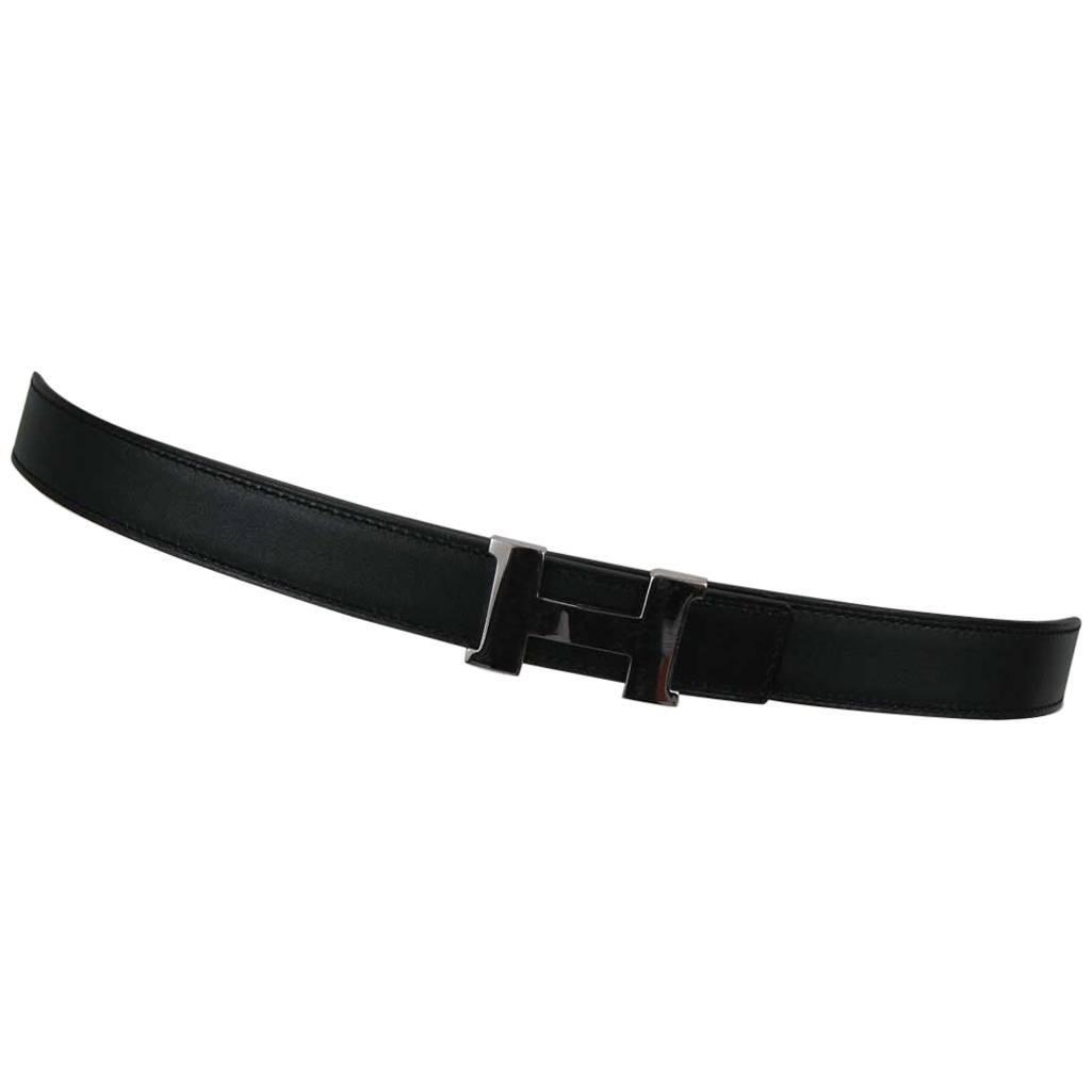 Hermes H Belt Buckle & Skinny Reversible Leather Strap