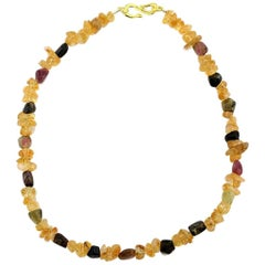 Handmade Citrine and Tourmaline Business Necklace