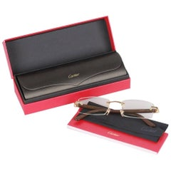 Cartier Paris Rectangular Rimless Eyeglasses C Decor Optical with Case