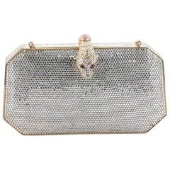 Judith Leiber Snakehead Minaudiere Box Clutch Crystal Small
