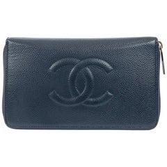 Chanel Navy Caviar Leather XL Zip Wallet