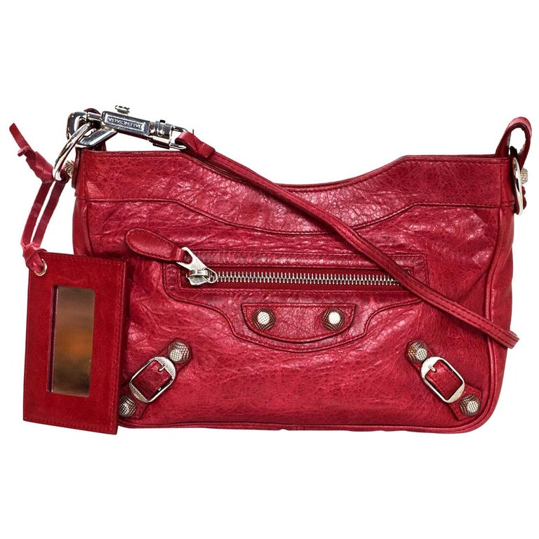 Balenciaga Red Lambskin Motocross Giant 12 Hip Crossbody Bag