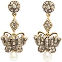 Antique Gold and Silver Diamond and Pearl Butterfly Drop Earrings